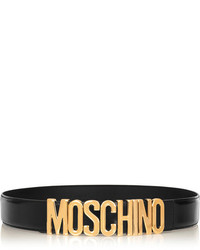 Moschino Olivia Embellished Patent Leather Belt Black
