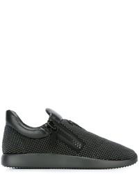 Black Embellished Low Top Sneakers
