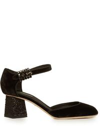 Dolce & Gabbana Mary Jane Velvet Pumps
