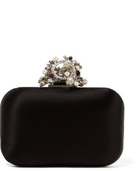 Jimmy Choo Cloud Interchangeable Swarovski Pearl And Crystal Embellished Satin Clutch Black