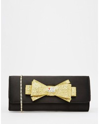 Love Moschino Satin Clutch With Gold Embellished Bow