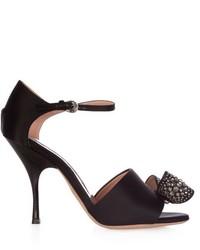 Bow embellished satin high heel sandals medium 719778