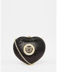 Love Moschino Sequin Heart Clutch In Black