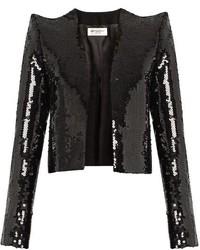 Saint Laurent Sequin Embellished Cropped Jacket
