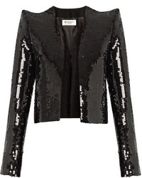 Saint Laurent Sequin Embellished Cropped Jacket