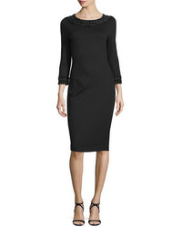 Black Embellished Sheath Dress