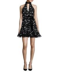 Alexis Poppy Embellished Halter Dress