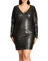 City Chic Plus Size Party Time Embellished Shift Dress