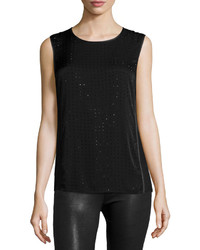 Black Embellished Sleeveless Top