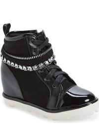 Stuart Weitzman Girls Ariana Chain Crystal Embellished High Top Sneaker