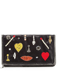 Black Embellished Suede Clutch