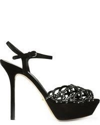 Black Embellished Suede Heeled Sandals