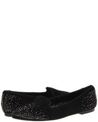 Black Embellished Suede Loafers