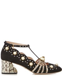 Ofelia embellished suede and elaphe pumps medium 959792