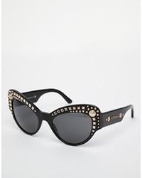 Versace Jewelled Cat Eye Sunglasses Black