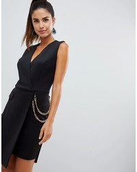 Forever Unique Wrap Front Tuxedo Dress