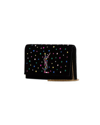 Saint Laurent Black Kate Crystal Embellished Velvet Chain Bag