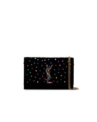 Saint Laurent Black Kate Crystal Embellished Velvet Chain Bag