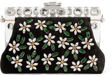 Dolce & Gabbana Vanda Small Swarovski Crystal Embellished Velvet Clutch Black