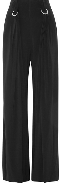 Dion Lee Embellished Pleated Stretch Crepe Wide Leg Pants Black