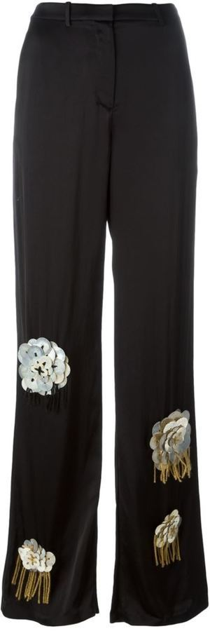 Ports 1961 Flower Embellished Wide Legged Trousers