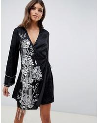 ASOS DESIGN Kimono Wrap Dress With Pearl And Embellisht With Tassle Ties