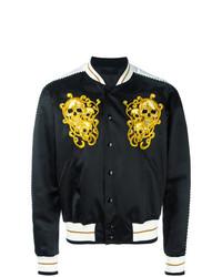 Alexander McQueen Skull Embroidered Bomber Jacket Black