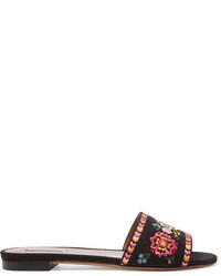 Tabitha Simmons Sprinkles Fest Embroidered Canvas Slides Black