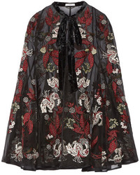 Erdem Flo Velvet Trimmed Embroidered Silk Organza Cape Black