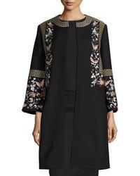 Vilshenko Embroidered Wool Blend Coat Blackmulti