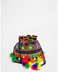 Drawstring cross body duffle bag with embroidery medium 738195