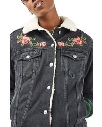 Topshop Embroidered Borg Denim Jacket