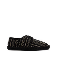 Saint Laurent Embroidered Lace Up Espadrilles