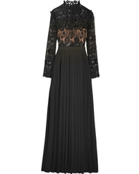 Self-Portrait Mia Guipure Lace And Pleated Crepe Gown Black