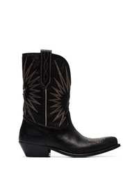 Golden Goose Deluxe Brand Black Wish Star Leather Cowboy Boots
