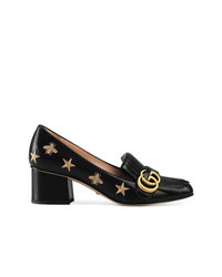 Gucci Embroidered Leather Mid Heel Pump