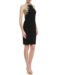 Black Embroidered Party Dress