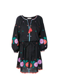 Black Embroidered Peasant Dress