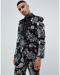 14d48c4cd1f52 ASOS DESIGN Skinny Tuxedo Suit Jacket In Space Embroidery With Removable  Sequin Parrot