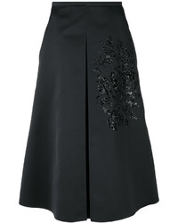 Rochas Sequin Embroidery Flared Skirt