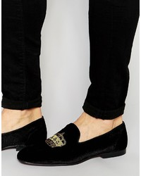 Brand loafers in black velvet with crown embroidery medium 563250