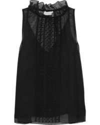 See by Chloe See By Chlo Embroidered Cotton Blend Tulle Top Black