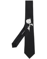 Alexander McQueen Rose Embroidered Tie