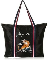 Topshop Embroidered Tiger Shopper Black