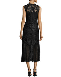 Black Embroidered Tulle Midi Dress