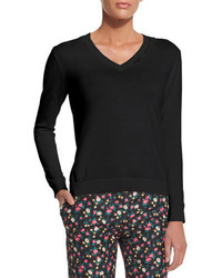 Black Embroidered V-neck Sweater