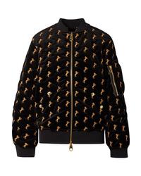 Chloé Embroidered Cotton Blend Velvet Bomber Jacket