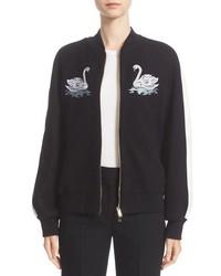 Stella McCartney Lorinda Embroidered Swan Melton Bomber Jacket