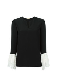 Black Eyelet Long Sleeve Blouse