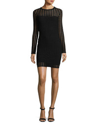 Alexander Wang T By Long Sleeve Jacquard Eyelet Mini Dress Black